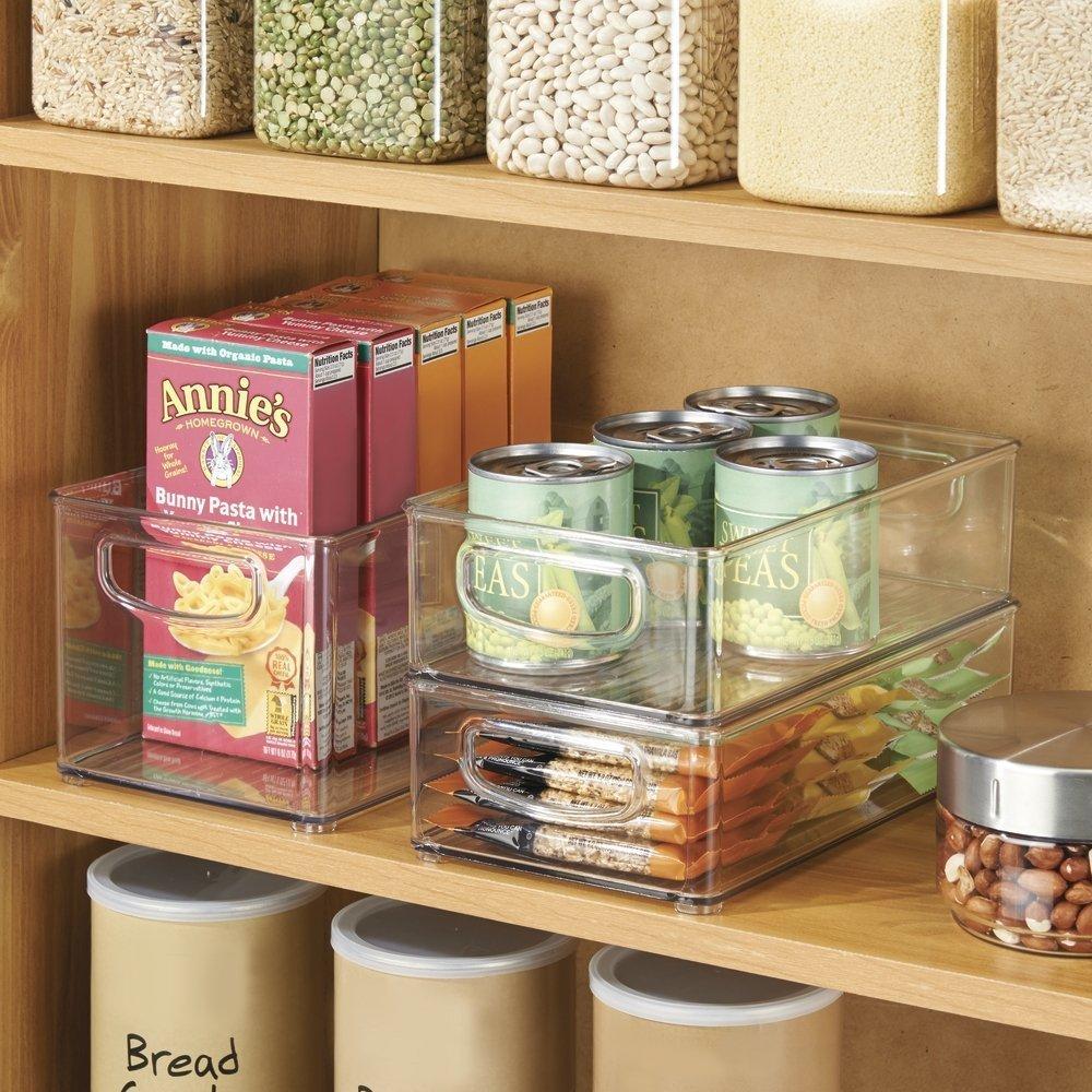 Set of 3 - Clear mDesign Kitchen Storage Bins Storage for Fridge Freezer Pantry