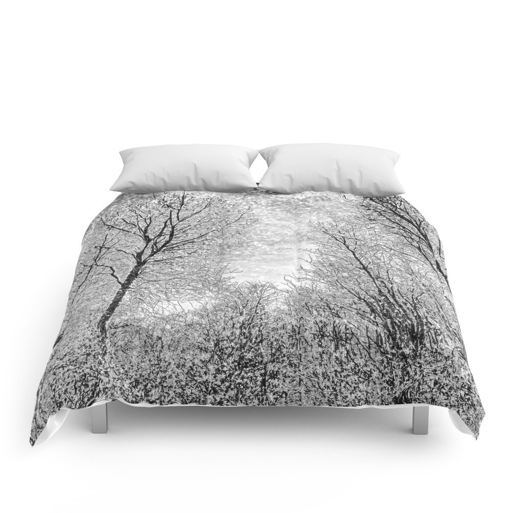 "Society6 Monochrome Snow Trees Comforters Queen: 88"" x 88"""