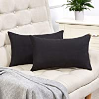 Anickal Black Lumbar Pillow Covers Set of 2 Cotton Linen Decorative Square Throw Pillow Covers 12x20 Inch for Sofa Couch Decoration