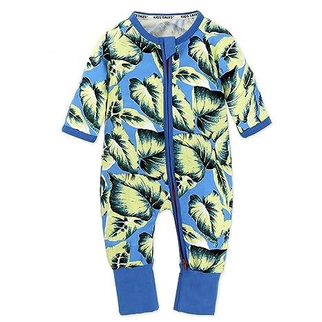 Bebé Niños Pijamas Peleles Algodón Mamelucos Monos Mangas Largas Trajes con Cremallera 3-6 Meses