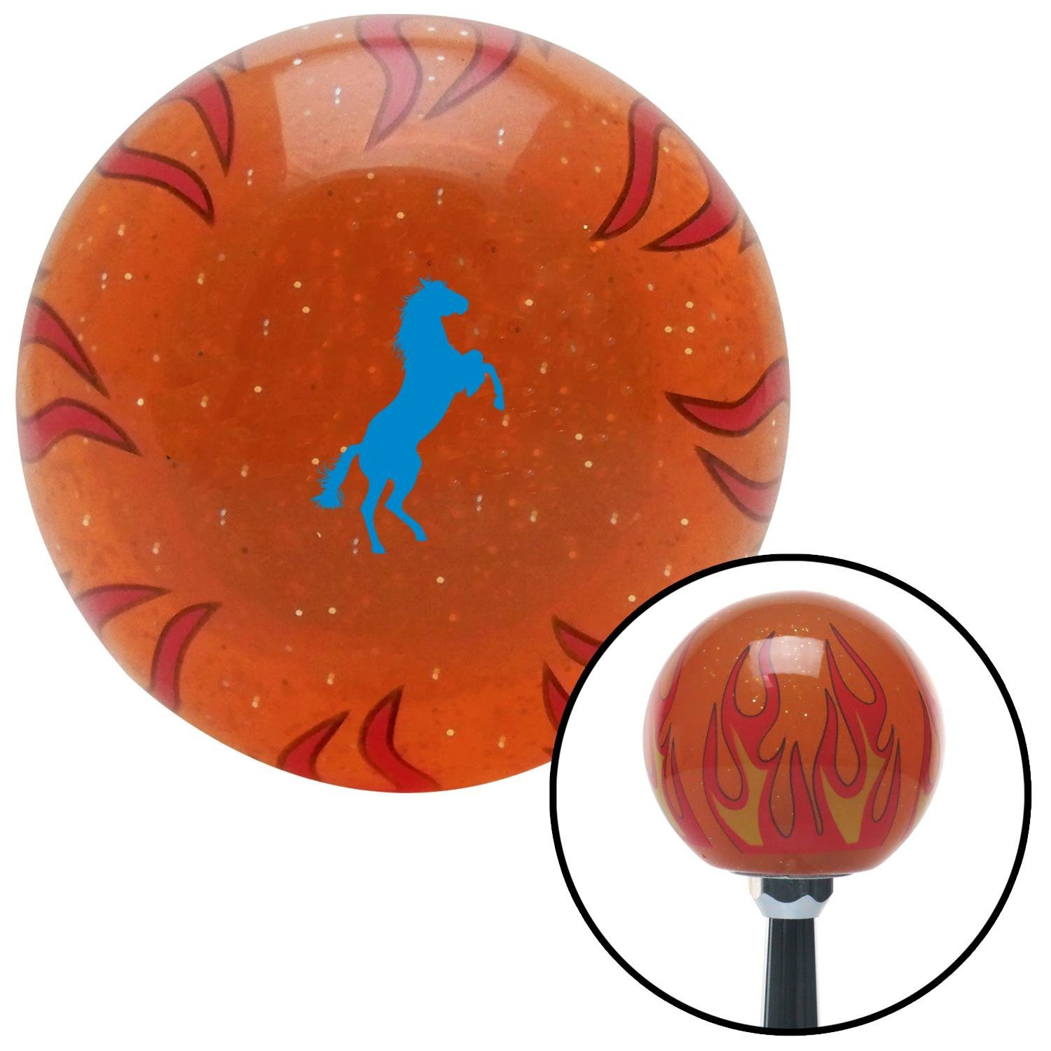 Blue Horse Rearing Orange Flame Metal Flake with M16 x 1.5 Insert American Shifter 298793 Shift Knob