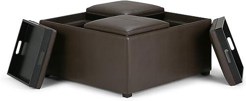 Simpli Home Avalon 35 inch Wide Square Coffee Table Lift Top Storage Ottoman