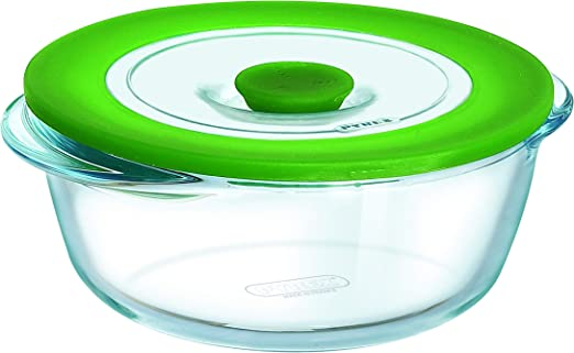 Pyrex Cook & Store - Recipiente redondo de vidrio 4 in 1 plus, con ...