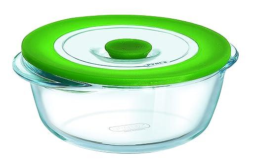 Pyrex Cook & Store - Recipiente redondo de vidrio 4 in 1 plus, con tapa, 20 cm, apto para microondas