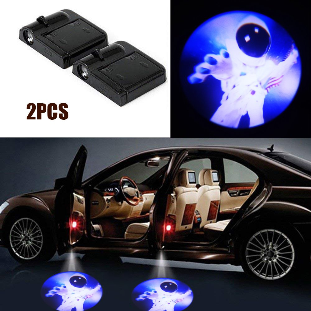 2x Astronaut Car Door Welcome Ghost Shadow Puddle Spotlight Laser Projector LED 3D Astronaut Courtesy Emblem Logo Light Fit Ford, BMW, VW, AUDI, Toyota, Honda etc Lazynice