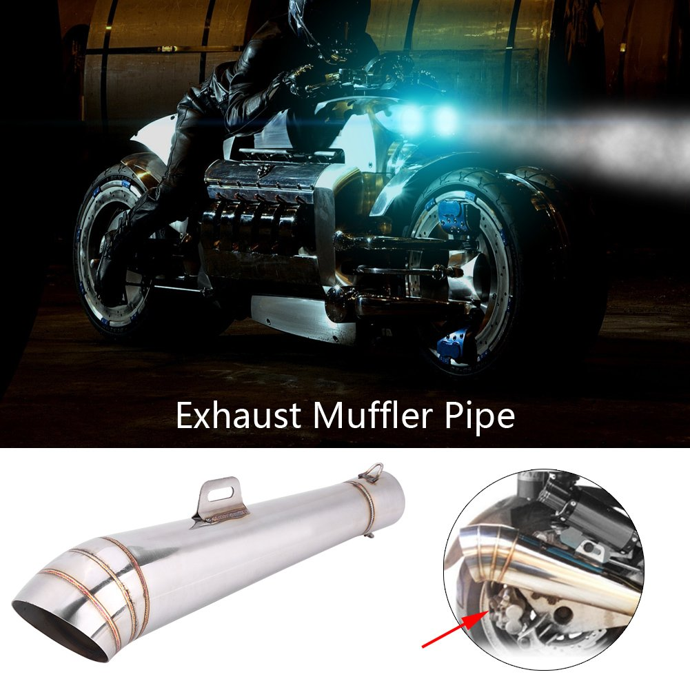 Qiilu Tuyau d/'Echappement Embout Silencieux En Acier Inoxydable Moto Universel