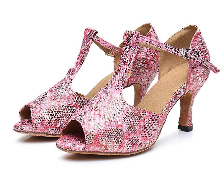 Yingsssq Damen T-Strap Tanzschuhe Salsa Tango Chacha Samba Modern Jazz Schuhe Sandalen Hohe Absätze RosaHeeled8CM-UK3   EU33   Our34 (Farbe   Rosaheeled6cm Größe   UK4 EU35 Our36)