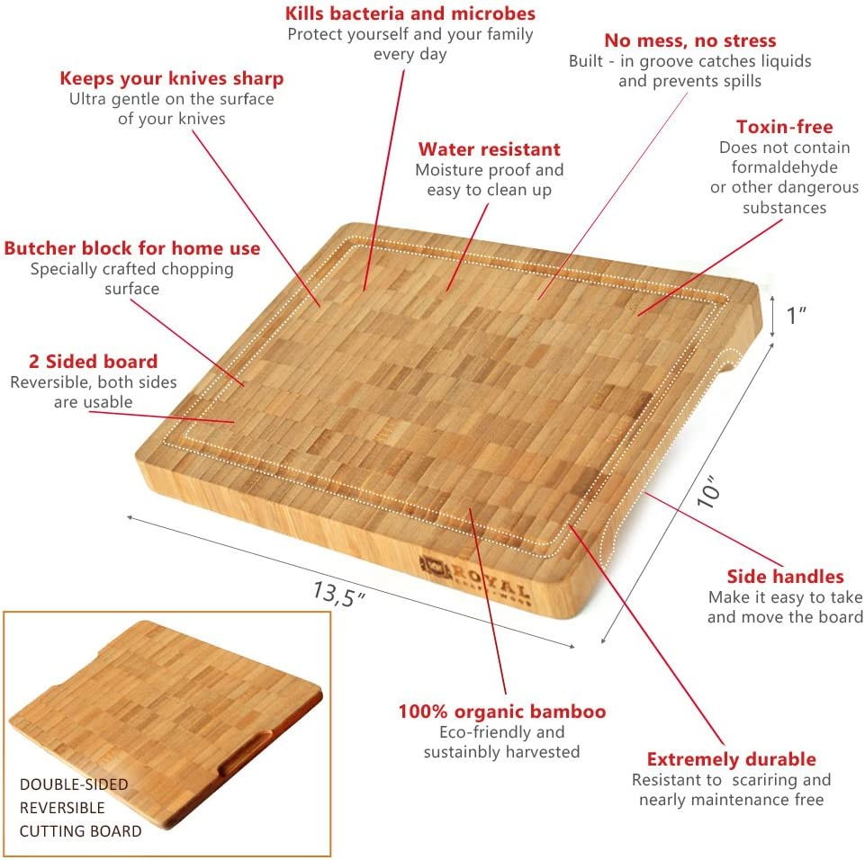 Heavy Duty Chopping Thick Bamboo Wood Cutting Board//Kitchen Butcher Block