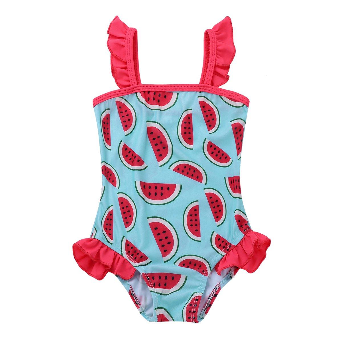 3e613a3571360 Freebily Infant Baby Girls One-Piece Cute Watermelon Printed Ruffle  Swimsuit Swimwear Swimming Costumes: Amazon.co.uk: Clothing