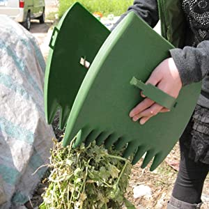 FOLOU 1 Pair Garden and Yard Leaf Scoops Hand Rakes, Large Sized, Multiple Use for Leaves, Lawn Debris and Trash Pick Up Good Use