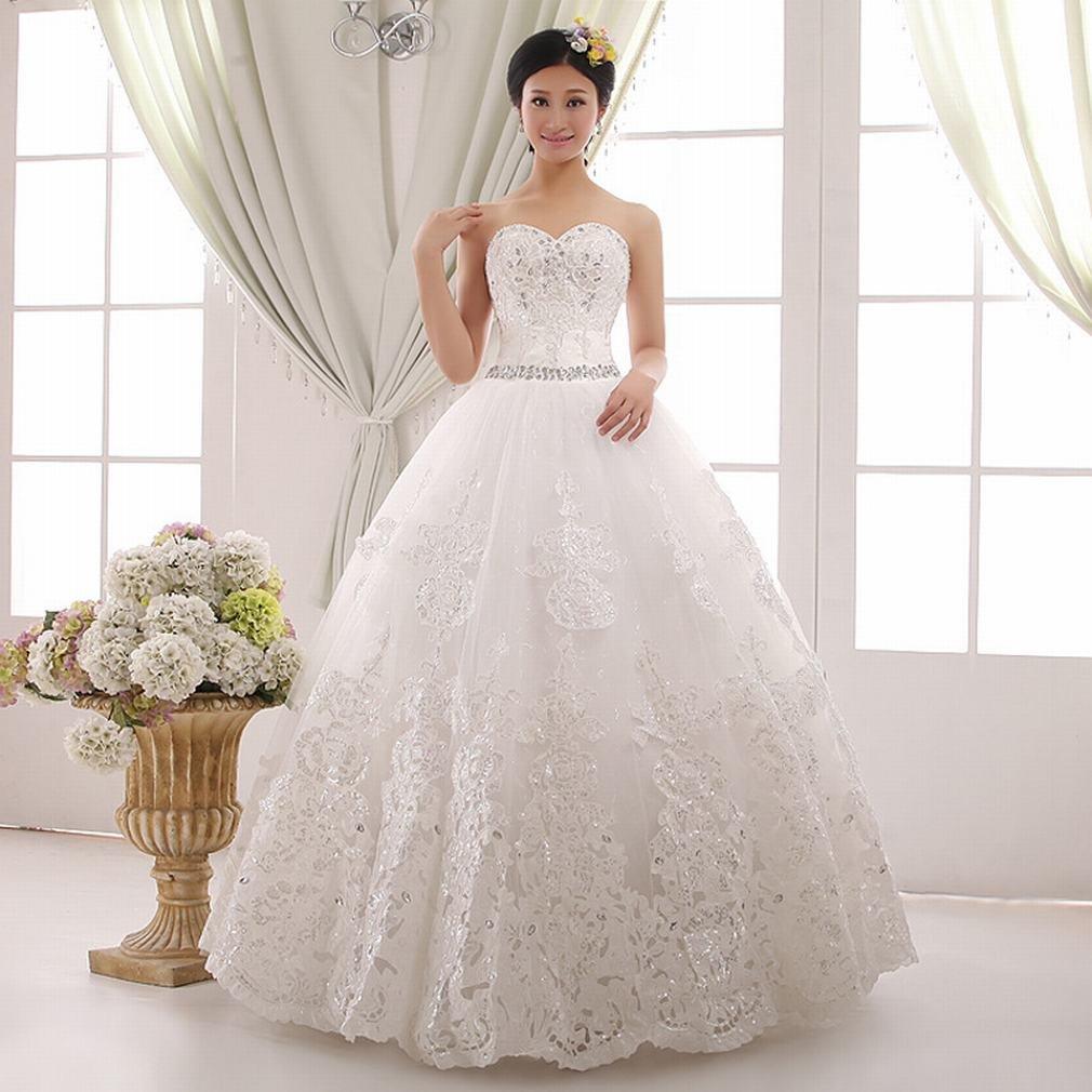 WEI Hochzeits-Braut Weißes Dünnes Passendes Diamantschlauch-Spitzenkleid,EIN,XXL