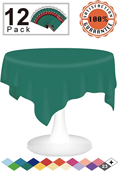 "84/"" Green Round Heavy Duty Plastic Table Covers Disposable Party Tablecloths"