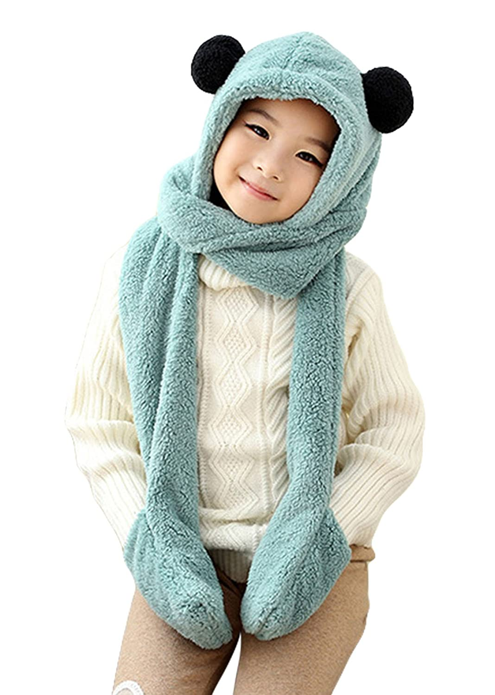 Little Boys Girls Soft Winter Warm Long Scarf Earflap Hat Gloves Pocket - Green Aivtalk