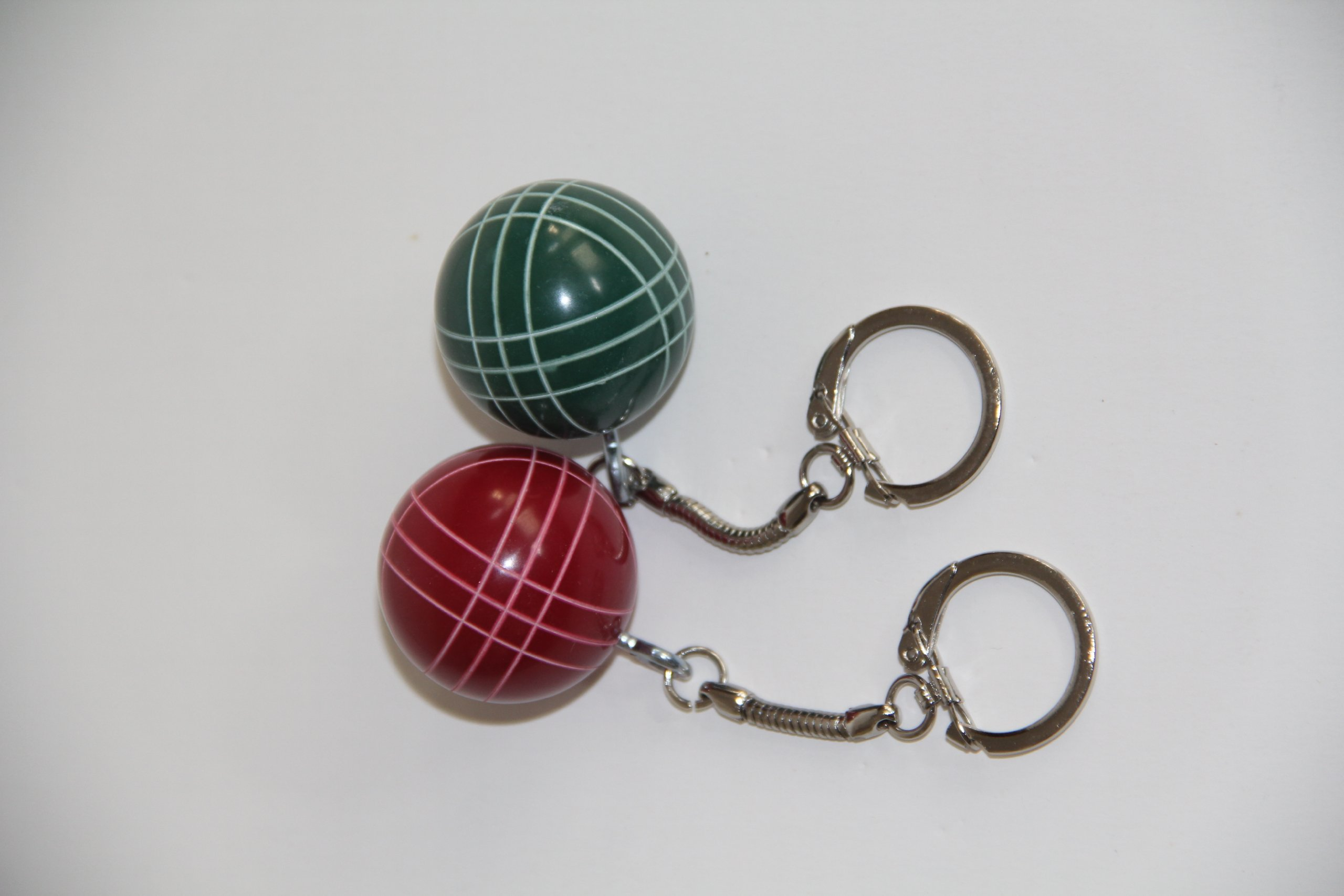 Bocce Ball Keychain - Combo 2 pack wih 1 red and 1 green