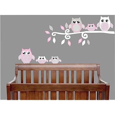 Pink Owl Wall Decals Stickers Owl Children's Nursery Wall Decor (Grey and Pink Owl Wall Decals): Baby