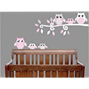 Pink Owl Wall Decals/Owl Stickers/Owl Nursery Wall Decor (Grey and Pink Owl Wall Decals)