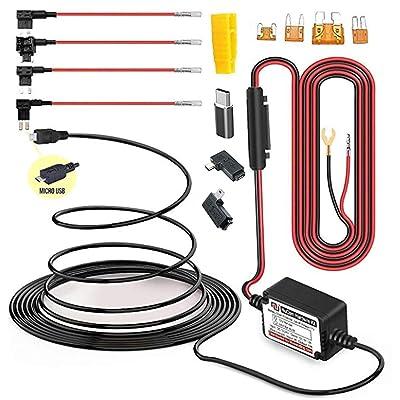 15ft Micro USB & Mini USB Dash Cam &Type-C Hardwire Kit w. Mini(ACS)/LP Mini(ACN)/ATO(ATC or ACU)/Micro2(ACZ) Fuse, Micro to Mini/USB-C Port Adapters & 11.9V Real Battery Drain Protection: Electronics [5Bkhe2006506]