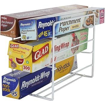 Amazon Com Decobros Kitchen Wrap Organizer Rack White