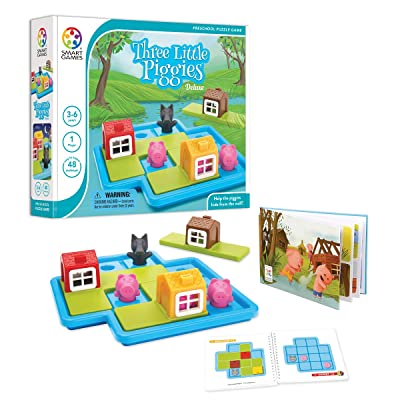 SmartGames Three Little Piggies - Deluxe Cognitive Skill-Building Puzzle Game featuring 48 Playful Challenges for Ages 3+: Toys & Games