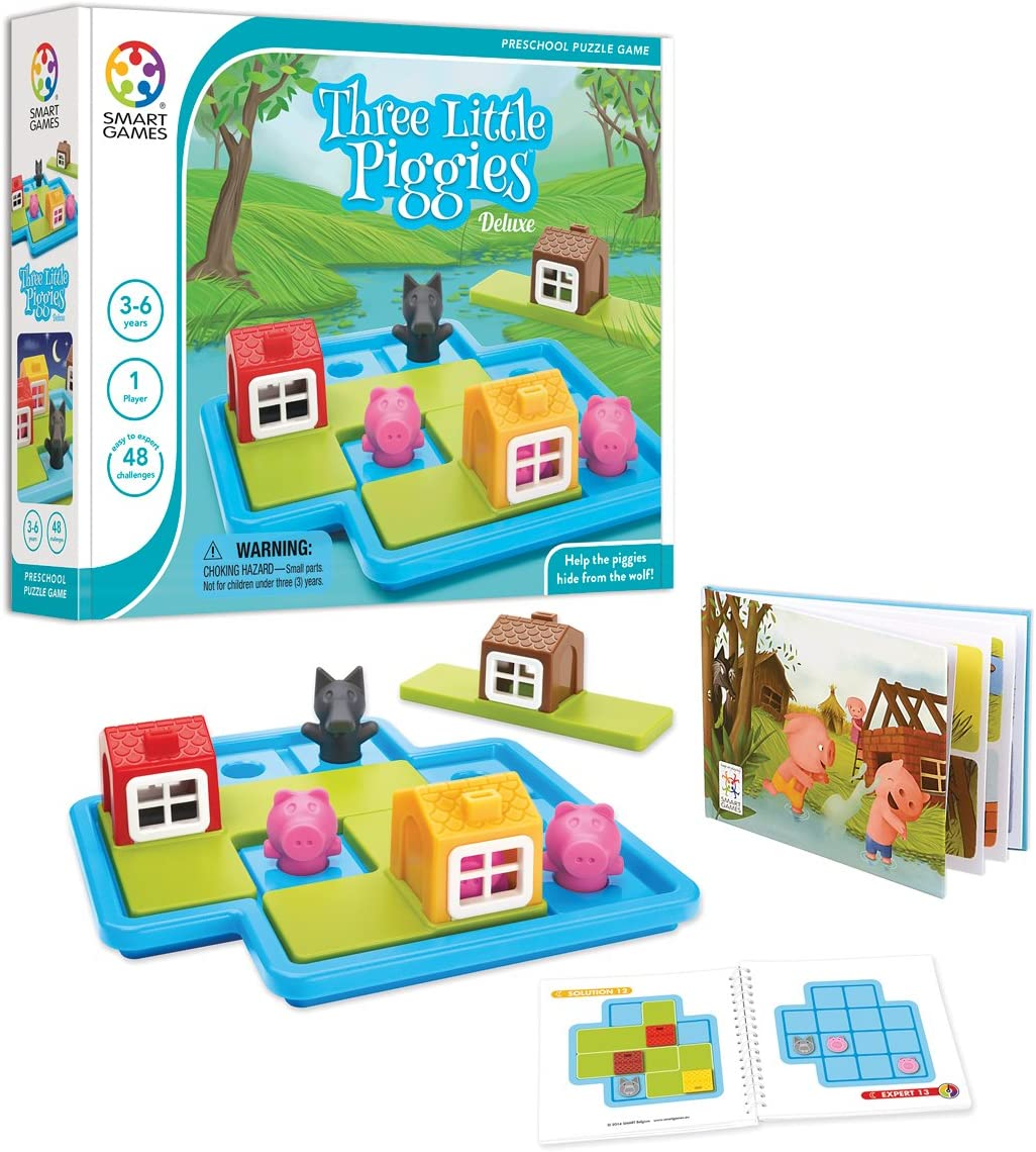 SmartGames Three Little Piggies - Deluxe Cognitive Skill-Building Puzzle Game featuring 48 Playful Challenges for Ages 3+