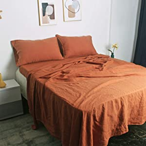 100% French Natural Linen Bedding S VICTORY SYMBOL Ultra Soft Durable Luxurious Stone Washed 4 Pieces Sheets Set(Caramel,King)