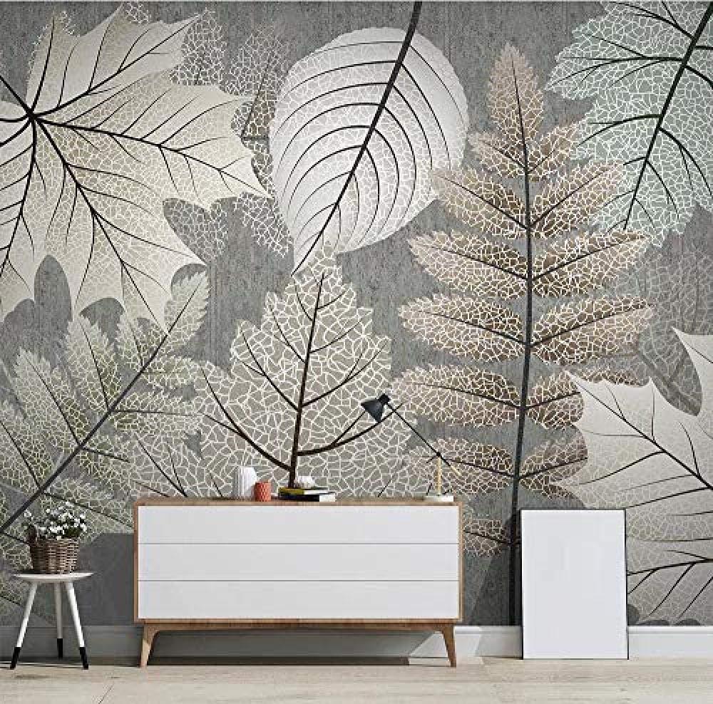 ZJfong Carta da parati 3D foto carta da parati dipinta a mano pianta lascia texture vintage murale soggiorno cucina camera da letto parete carta da parati decorazione/-220x140cm