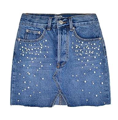 13d4de4846e NQ Women s High Waist Slim Cowboy A-line Sexy Mini Skirts at Amazon Women s  Clothing store
