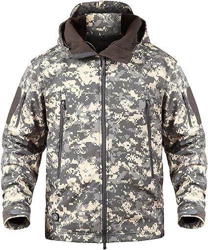 YuanDian Uomo Tattico Camouflage Softshell Giacca Autunno Inverno Outdoor Militare Pile Fodera Impermeabile Antivento Giubbotto con Cappuccio Trekking