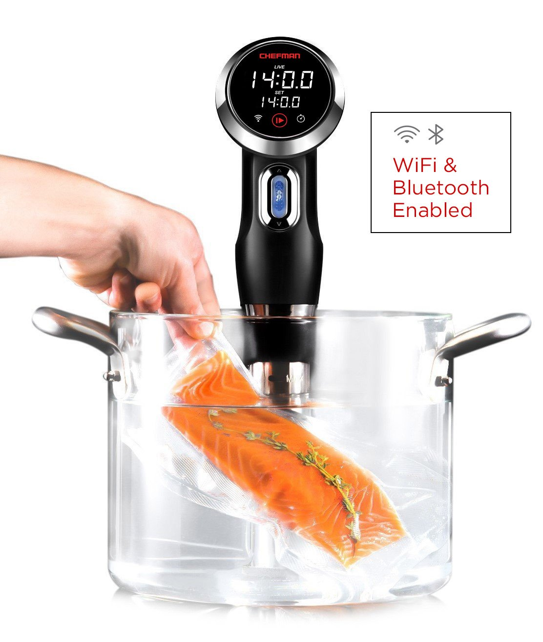 Chefman Immersion Circulator w/Wi-Fi Bluetooth & Digital Interface Touchscreen Display, Sous Vide Cooker Includes Connected App for Guided Cooking, Adjustable Clamp, 1100 Watts, WiFi