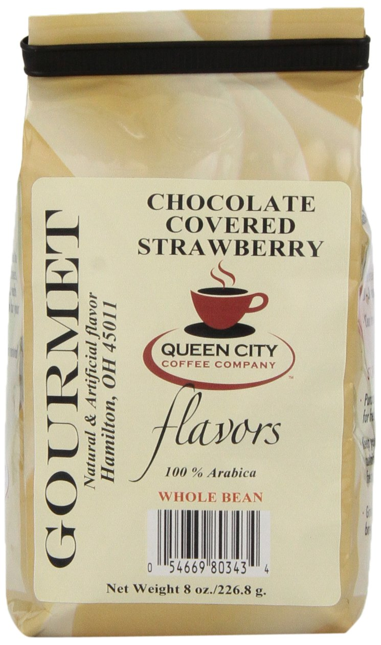 Queen City Chocolate Covered Strawberry Flavored Whole Bean Coffee, 8-Ounce Bags (Pack of 3) by Queen City