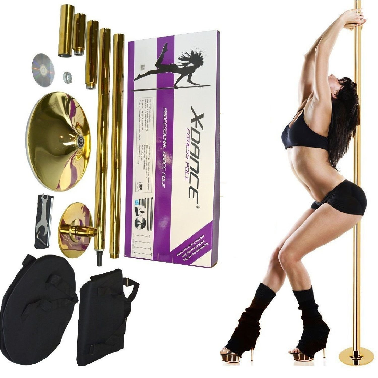 X-Dance 50mm Gold Chrome 9Ft Dance Pole Portable Fitness Exercise Exotic Strip and Spin + Bag by X-Dance (Image #2)