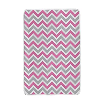 Amazon LORVIES White Gray Pink Chevron Super Soft Warm Blanket New Pink Chevron Throw Blanket