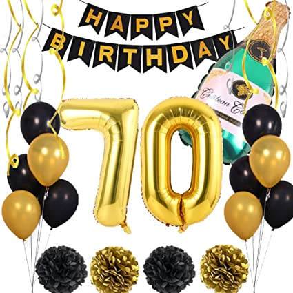 Amazon Com 70th Birthday Party Supplies Black Golden 70st