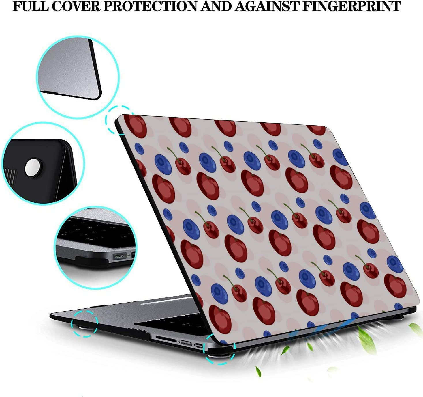 MacBook Pro Accessories Summer Fruit Cherry Blueberry Drink Plastic Hard Shell Compatible Mac Air 11 Pro 13 15 Mac Book Pro Case Protection for MacBook 2016-2019 Version