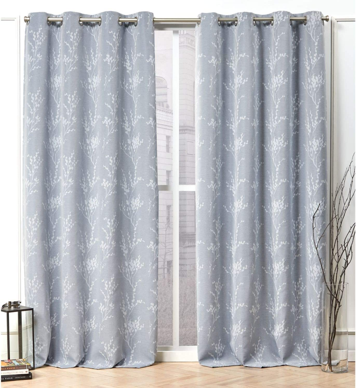 Nicole Miller Turion Curtain Panel, 52x84, Chambray Blue, 2 Panels