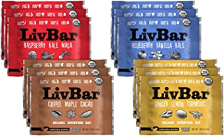 product image for LivBar - Organic Superfood Nutrition Bar Variety Pack - USDA Certified - Non-GMO - Gluten Free, Peanut Free, Soy Free, Dairy Free, Protein Snack Bars with Compostable Wrapper - 12 Pack
