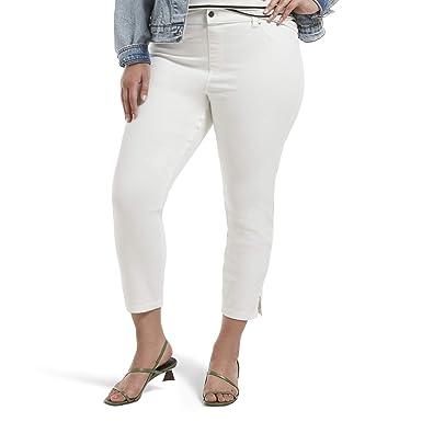 bec2ca498b683 HUE Women's Plus Size Ultra Soft Denim Jean Capri Leggings, Slit Hem/White,