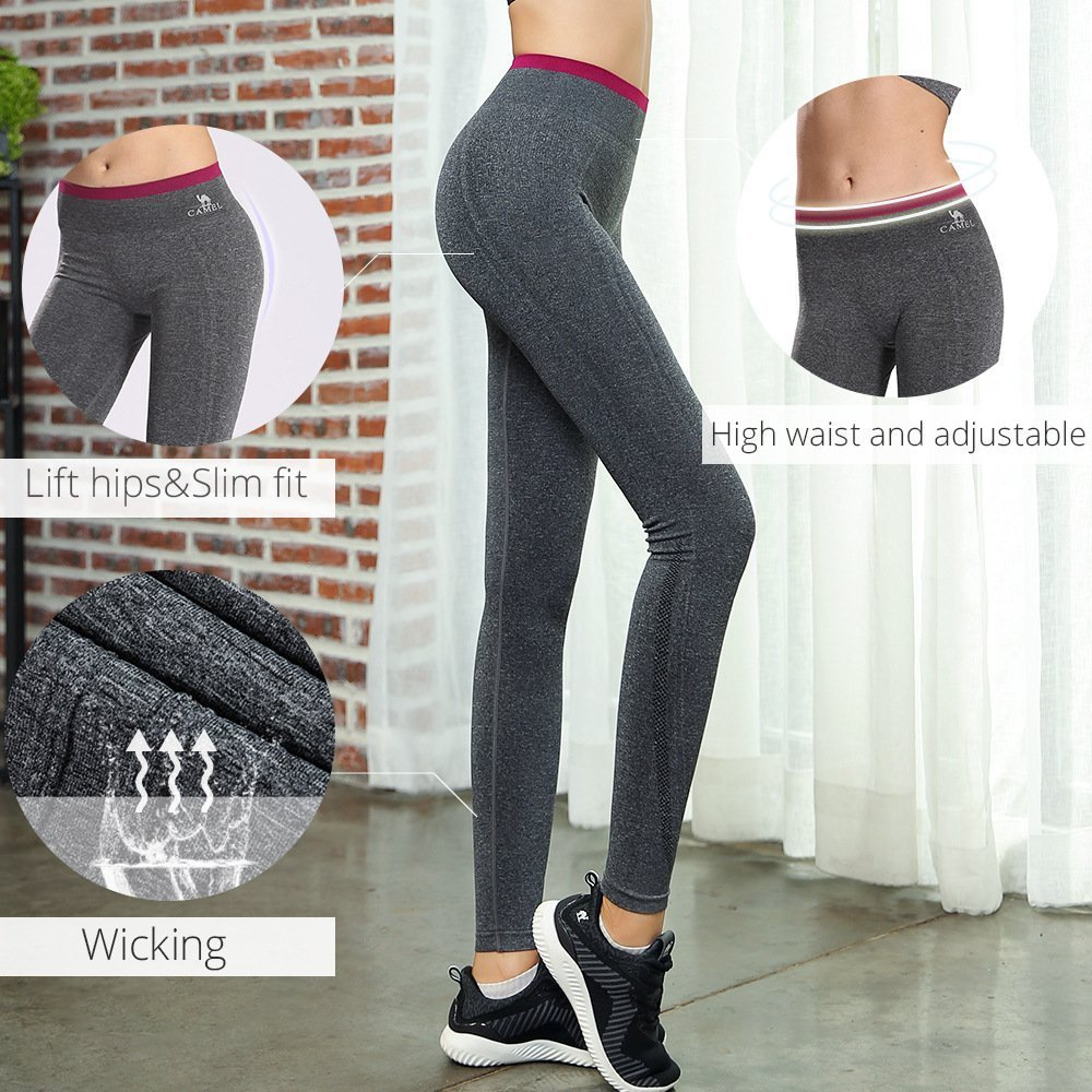 Camel Yoga Pants Gym Leggings High Waist Tights Comfortable Fitness Trousers Sport Sweatpants Workout Pants,Quick-drying