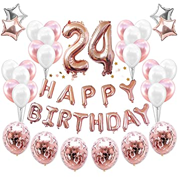 HankRobot 24th Birthday Decorations Party Suppies38packRose Golden Number 24 Balloons Happy