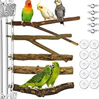 Heyeai 5PCS Wood Bird Perch Natural Wooden Parrot Perch Stand Platform Exercise Climbing Paw Grinding Toy Playground…