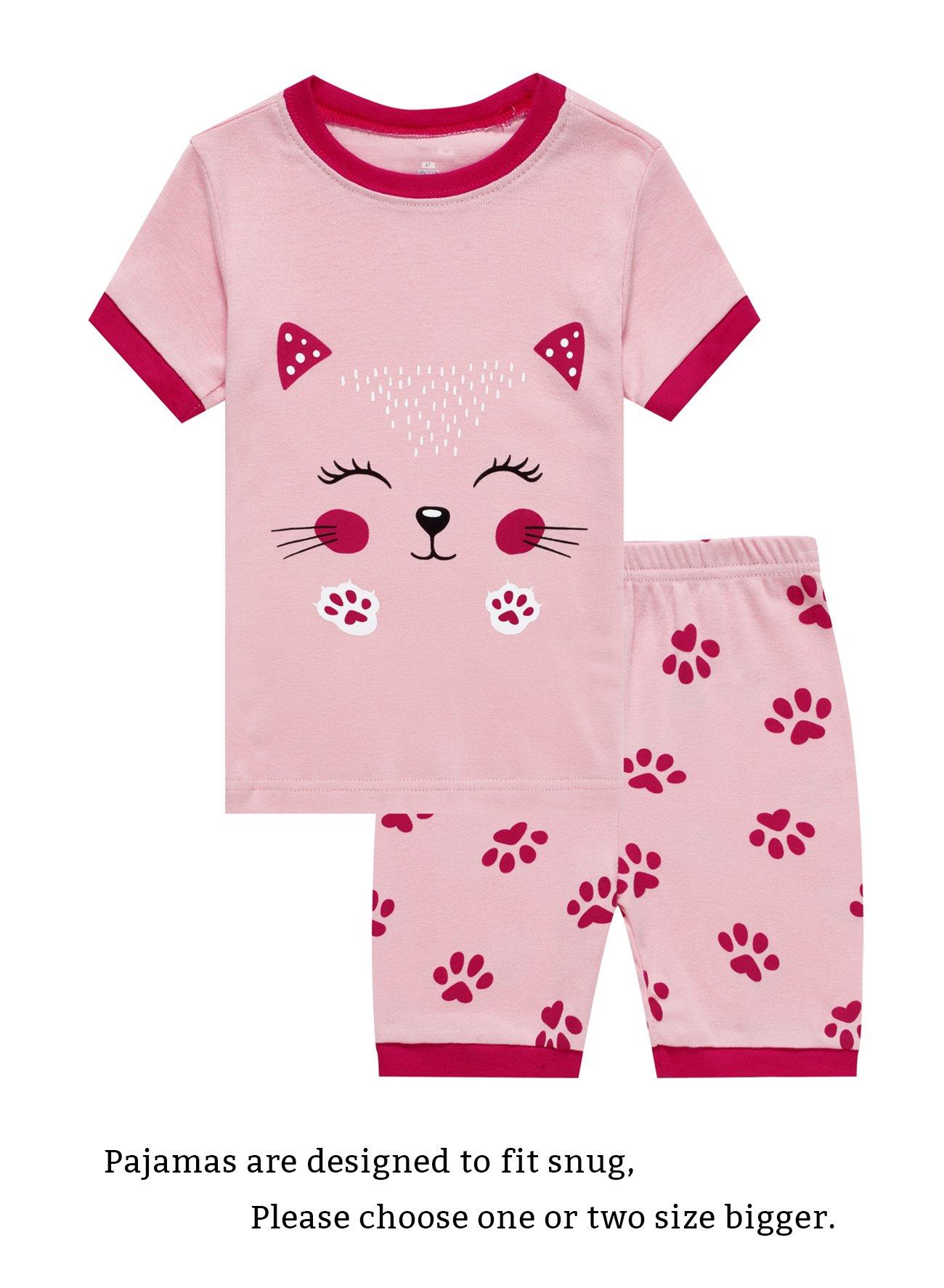 Family Feeling Cat Big Girls Short Sleeve Pajamas Sets 100% Cotton Pyjamas Kids Pjs Size 14 Pink
