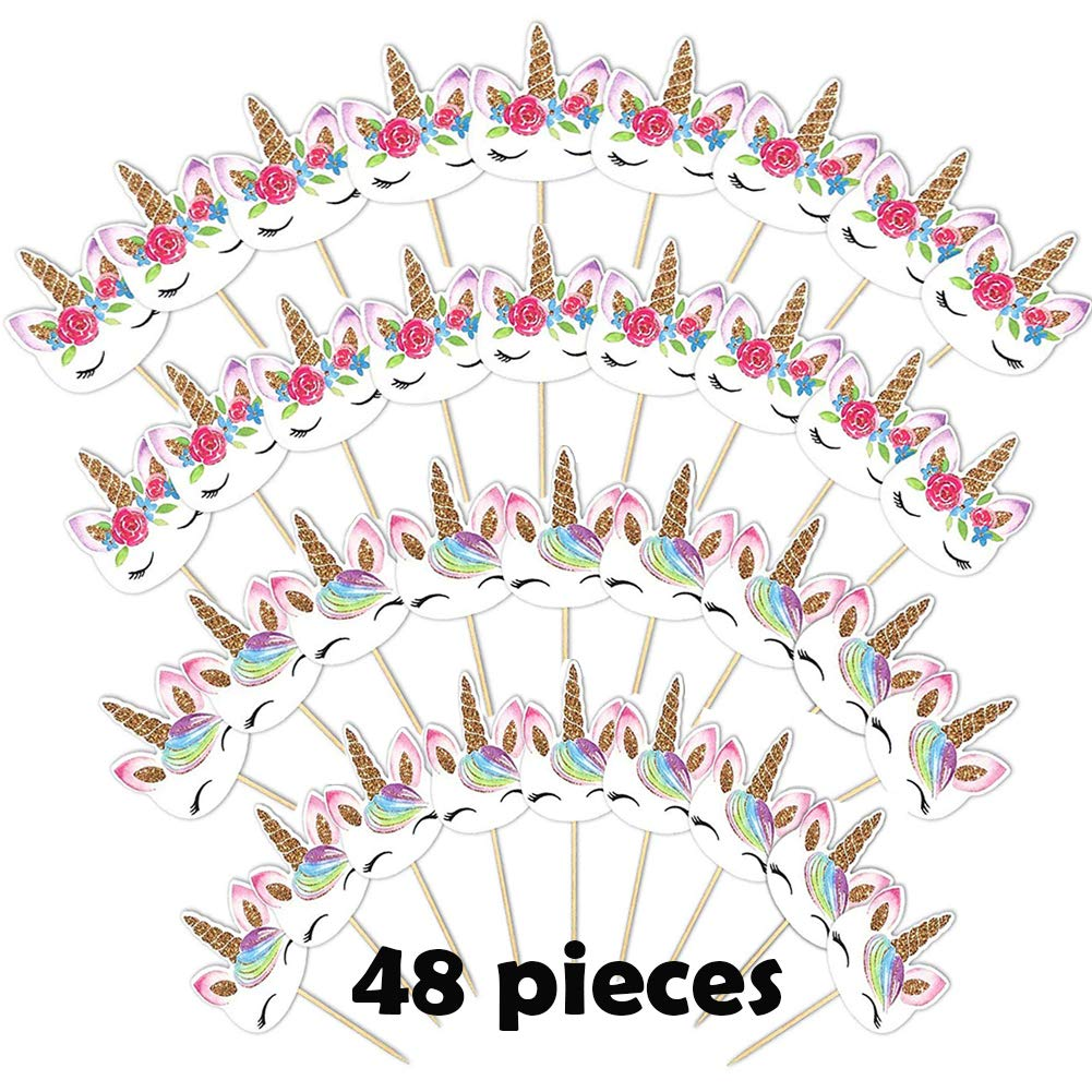 48 Pieces Unicorn Cupcake Toppers Double Sided Cake Topper Birthday Party Cupcake Decorations