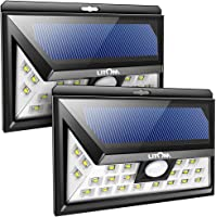 LITOM 24 LED Solar Lights Outdoor, 3 Optional Modes Wireless Motion Sensor Light with 270° Wide Angle, IP65 Waterproof, Easy-to-install Security Lights for Front Door, Yard, Garage, Deck, Porch-2 Pack