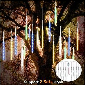ohCome Meteor Shower Rain Drop Lights 30cm 10 Spiral Tubes 300 LEDs Waterproof Icicle Snowfall String Lights for Wedding Christmas Halloween Garden Tree Home Decor, Support 2 Sets Hook (Multicolor)