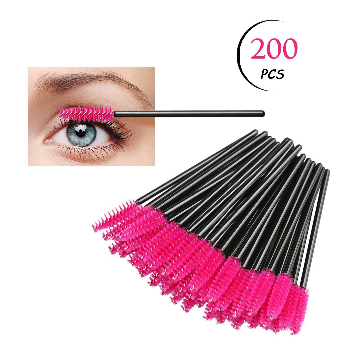 TailaiMei 200pcs Disposable Eyelash Mascara Brushes Wands Applicator Makeup Eye lash Brush Kits(pink)