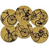 Corkology Antique Bicycles Coaster Set, Cork