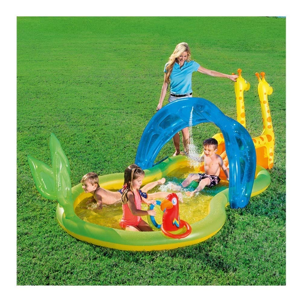 PNFP Inflatable Pool and Slide Combo for Kids, Family Outdoor Inflatable Thickened Fishing Swimming Pool for Babies and Toddlers, for Kids Over 3 Years Old, 338 167 129cm by PNFP