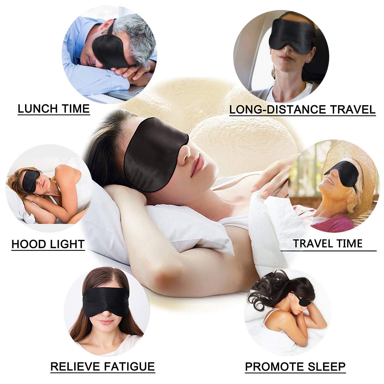 Viedouce Antifaz Dormir Avion Mascara Dormir Adultos Seda Mascara Ojos Dormir Antifaz Niños Hombre Mujer Ergonomico 100% Anti-Luz 100% Natural Seda Máscara ...