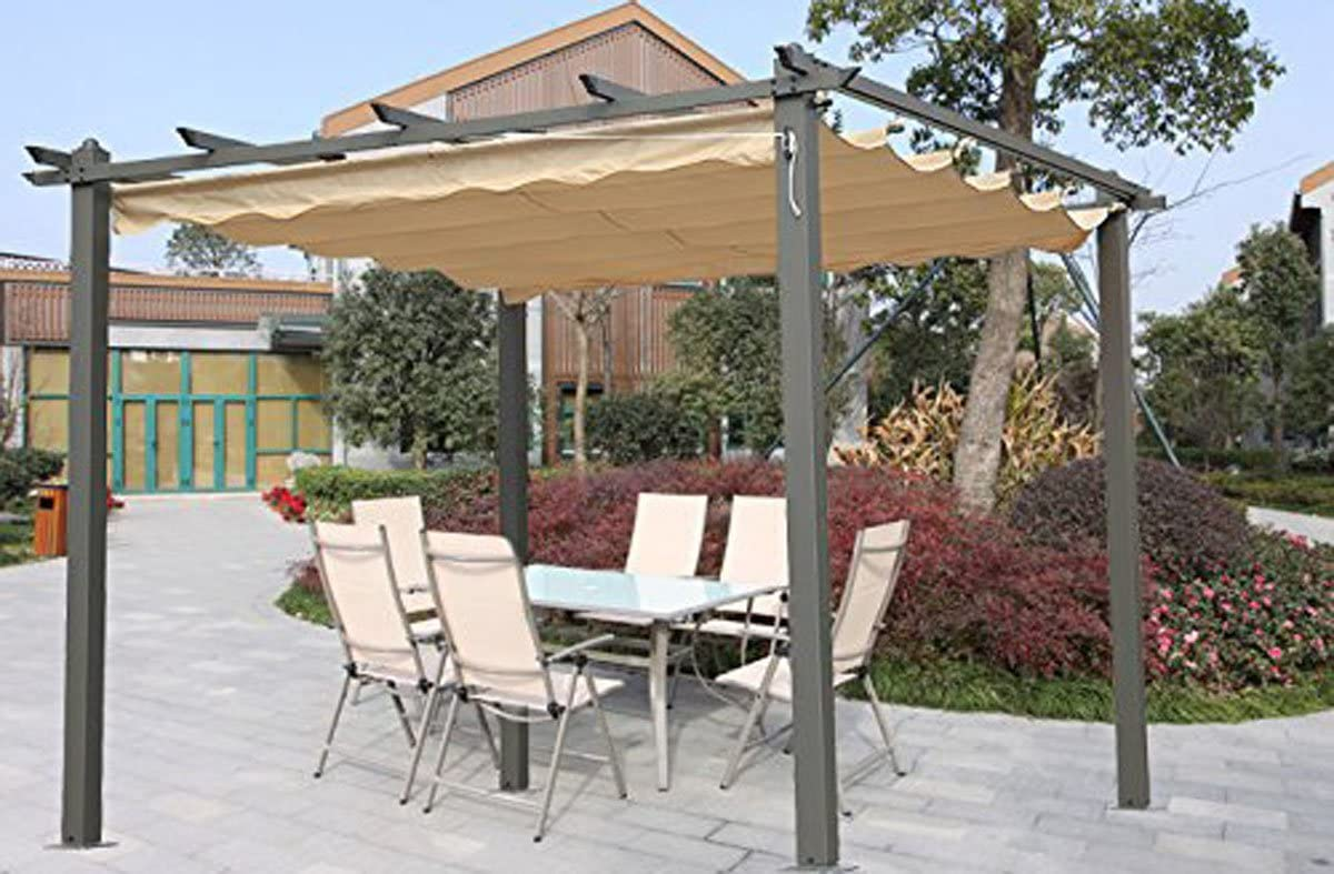 Angel Living 3X3m Pérgola de Aluminio con Techo Retráctil, Cenador ...