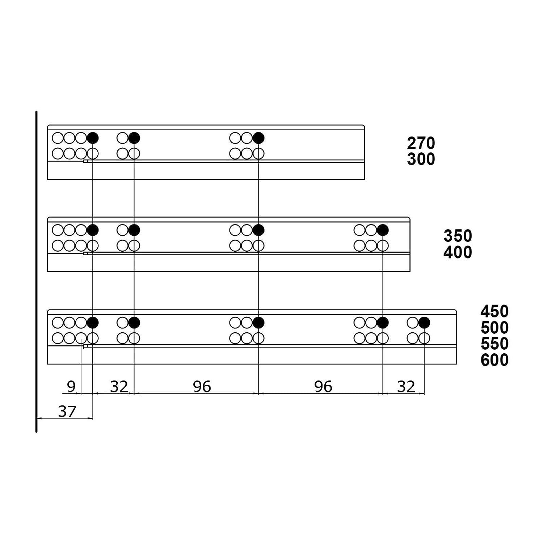 Sistema di Cassetto SMARTFLOW Soft-Close Altezza Sistema 58 mm//spazio necessario min 111mm// Lunghezza Nominale 450 mm Capacit/à di Carico 40 kg antracite con Ringhierina Cassetti da Cucina SO-TECH/®